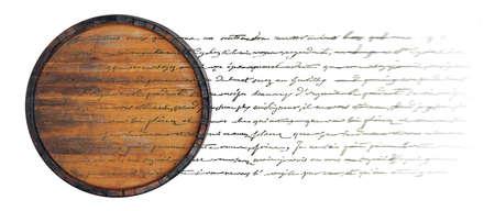 Barrel geïsoleerd op wit met onbegrijpelijke handgemaakte tekst