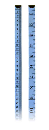 inches: Blue rules, the first in centimeter, the second in inches