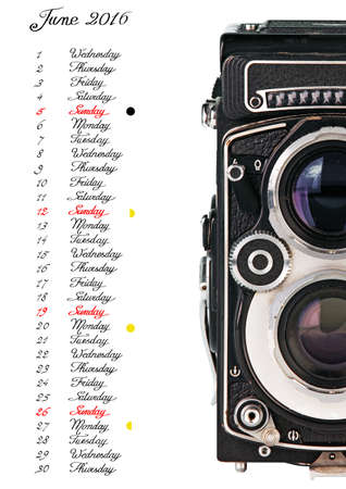 english text: 2016 Calendar, june, handwriting English text with old camera