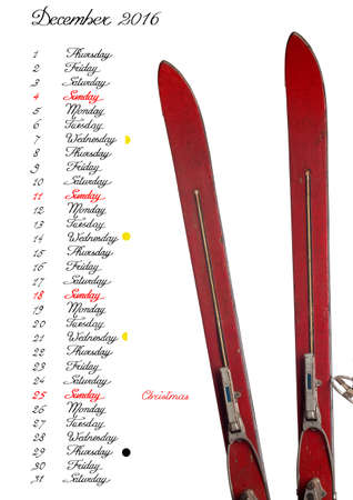 waning moon: 2016 Calendar, December, handwriting English text with old skis Stock Photo
