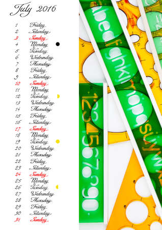 waning moon: 2016 Calendar, july, handwriting English text with green and orange stencils Stock Photo