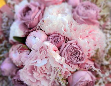 bouquet: Bridal Bouquet of pink roses (vintage effect)