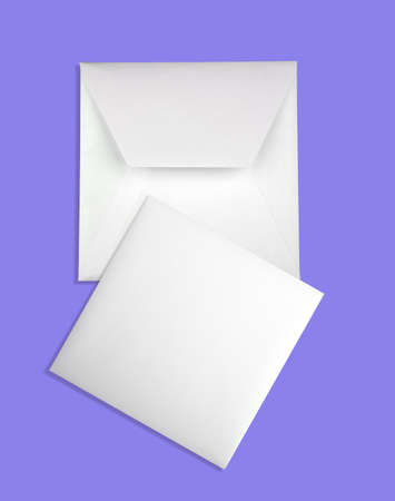 envelope: Envelope and card isolated on blue background
