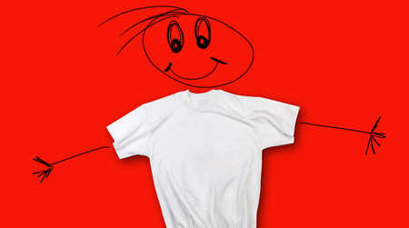 blak white: T-shirt with face and arms (concept of happiness)