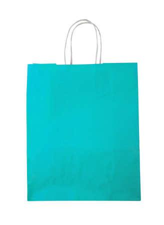 celadon green: Aquamarine shopping bag on white. Stock Photo