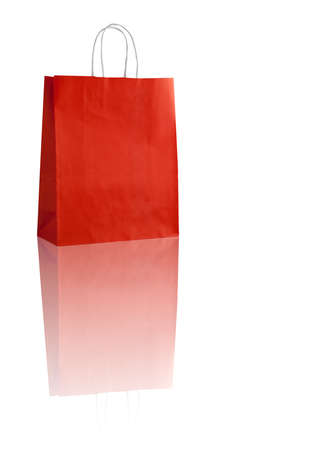 reflexion: Red shopping bag on white with reflexion (with space for your logo or text)