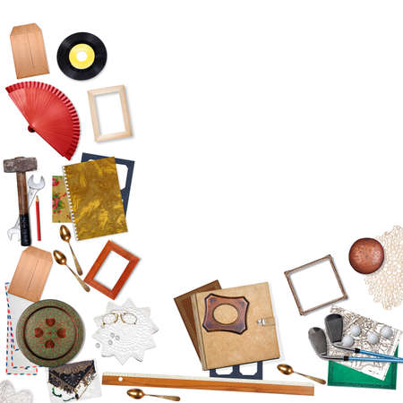 swap: Group of objects. Sell, buy, recycle, swap or garage sale concept on white background. With space for your text or logo. Stock Photo