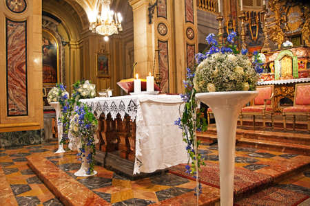 yelloow: Interior of Church with flowers for a wedding