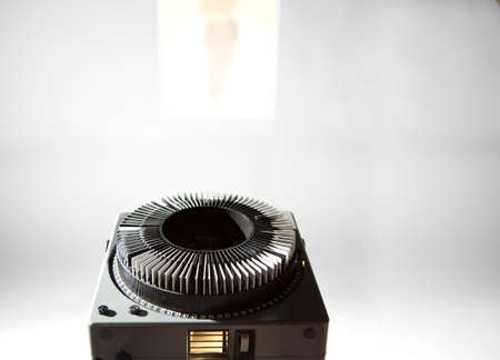 Old projector with color slide (space for your logo or text) Reklamní fotografie