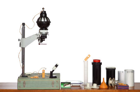 Old equipment of photographic darkroom isolated on white (with space for your text or logo) Stok Fotoğraf - 101087816