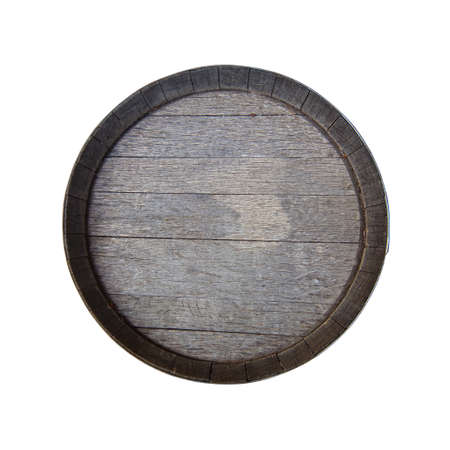 Altes Fass getrennt auf Weiß. Von oben betrachten Standard-Bild