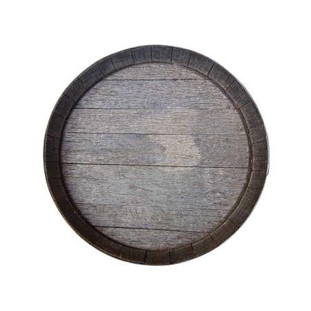 Stare beczki na białym tle. Widok z góry Zdjęcie Seryjne