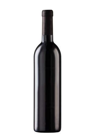 Black wine bottle, no label, isolated on white background Stock Photo