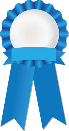 Blue ribbon to symbolize success, achievement or award Illustration