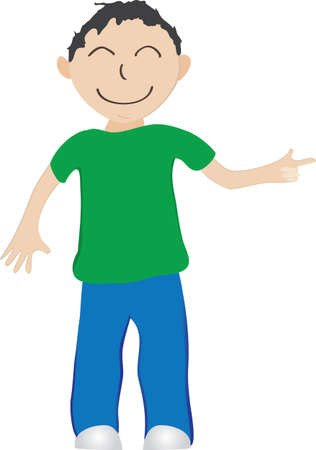 Illustration cartoon boy, blue pants, green shirt, pointing