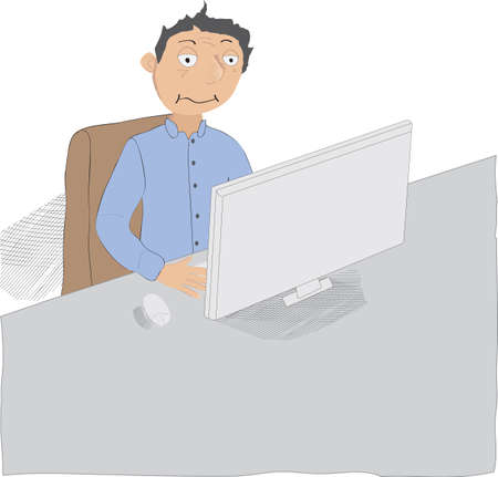Illustration of man working late or long hours, he is tired, exhausted and fatigued