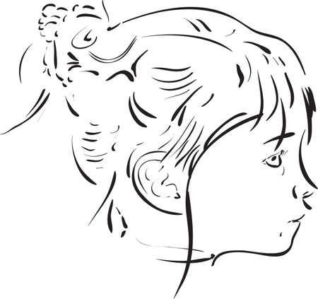 Portrait of little girl from profile view using a calligraphic brush
