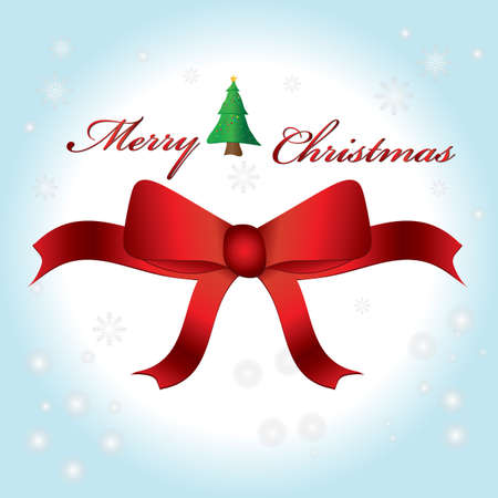 merry christmas text: Texto de la Feliz Navidad con el �rbol y el arco