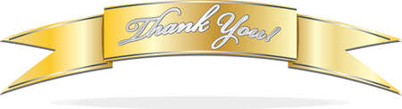 Gold banner with silver Thank You text Illustration