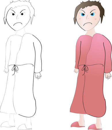 Mad or grouchy woman in bathrobe