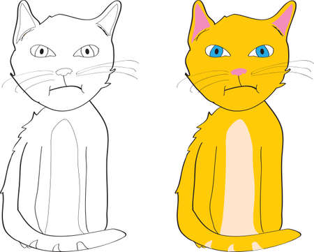 grouchy looking orange cat outline and colored