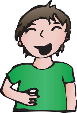 Cartoon smiling boy holding drink