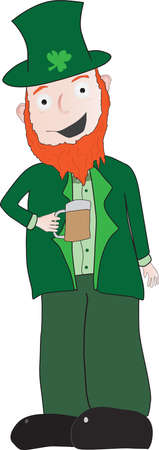 Leprechaun in green suit drinking what appears to be a beer