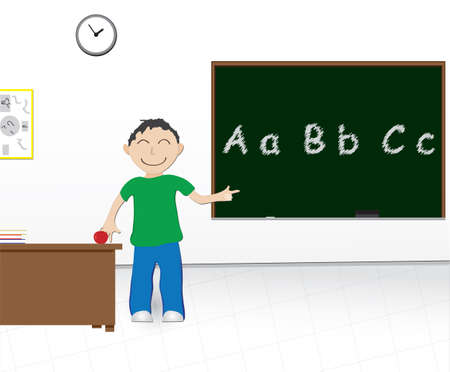 cartoon illustration of a boy at school pointing at a chalkboard