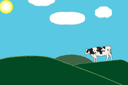 Illustration of one cow in green grass pastures with blue sky and white clouds