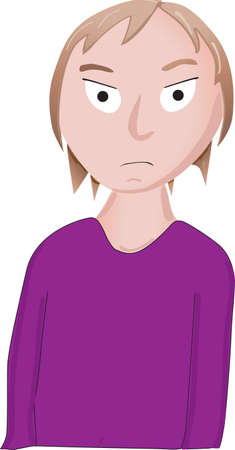 Very mad looking woman in purple shirt