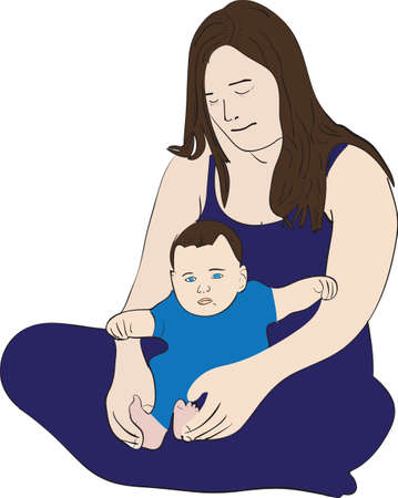 Illustration of a caring young mother with her child sitting on the ground Illustration
