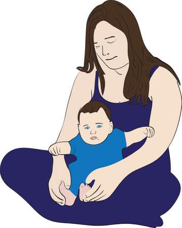 Illustrazione di una giovane madre premurosa con il suo bambino seduto sul terreno Archivio Fotografico - 24823110