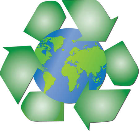 Illustration of the recycling arrows around the globe of the planet Earth
