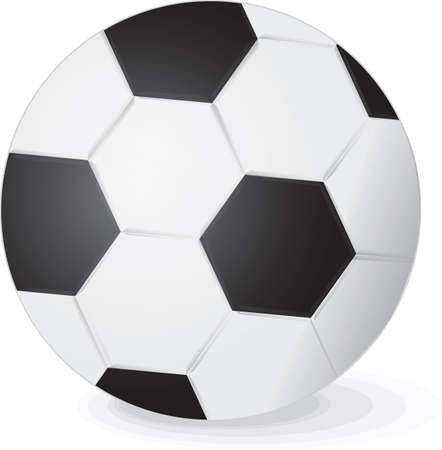 Illustration of a traditional black and white soccer ball with a hexagonal pattern on a white background