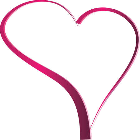 pink gradient Heart shaped valentines day ribbon frame
