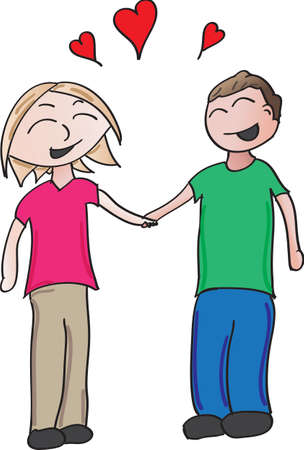 vector cartoon of a couple holding hands in love