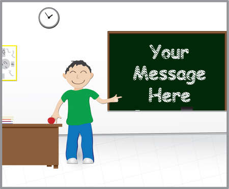 Illustration of a classroom with a chalkboard for your message Illustration