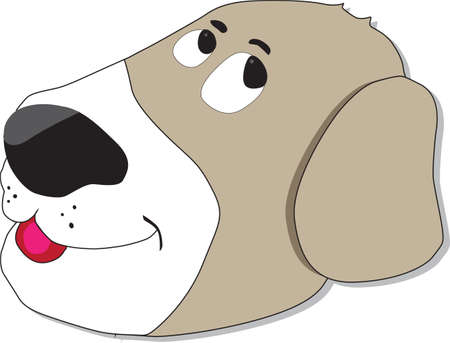 Cartoon brownish dog with a silly face Illustration