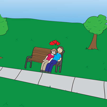 A loving couple resting on a bench in a park Illustration