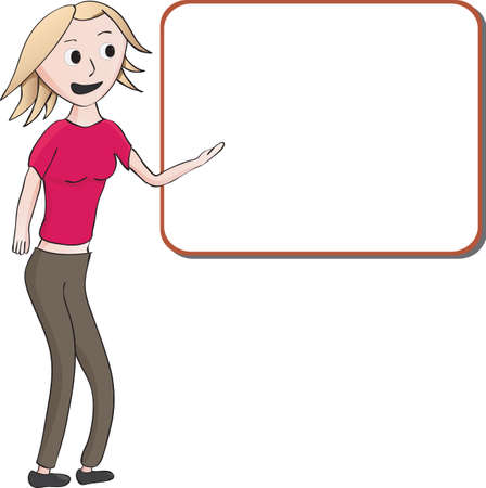 Cartoon illustration of a young blond woman in slacks giving a presentation or lecture pointing to a blank white board with copyspace