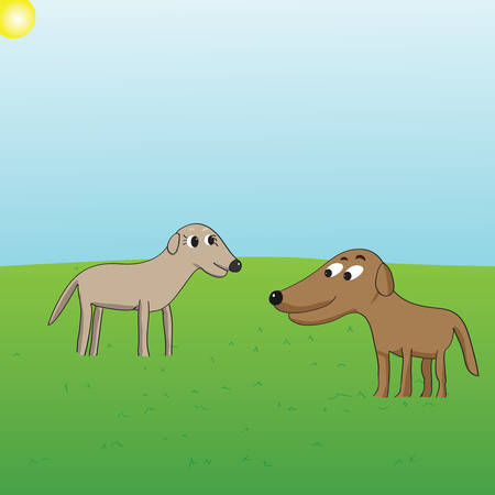 vector cartoon of two dogs looking at each other suggestively on grass background Illustration