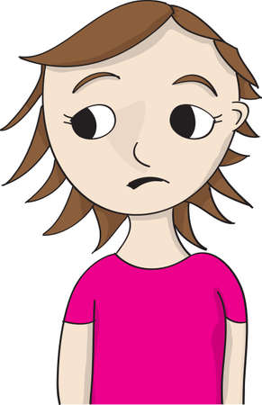cartoon girl illustration in pink shirt looking sideways with concerned look