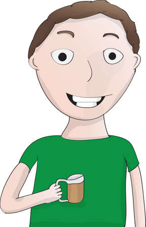 Nerdy looking guy in green shirt drinking a beer Illustration