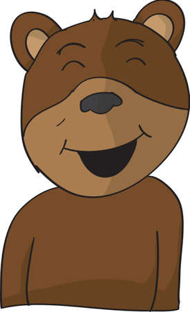 vector cartoon illustration happy smiling brown bear Illustration