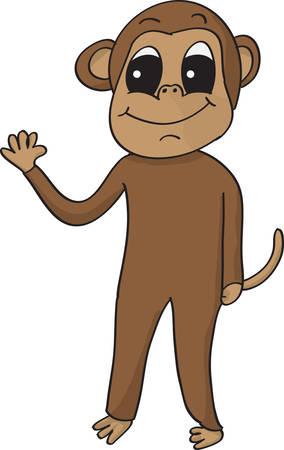 silly cartoon vector monkey smiling and waving