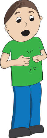 Boy in green shirt signing more in American Sign Language, ASL Stock Photo