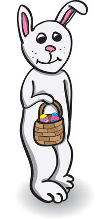 White bunny holding basket with colored eggs for easter Stock Photo