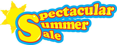 Yellow spectacular summer sale text with light blue and sun