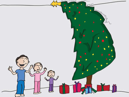 Illustration of a boy and his two little sisters on christmas morning