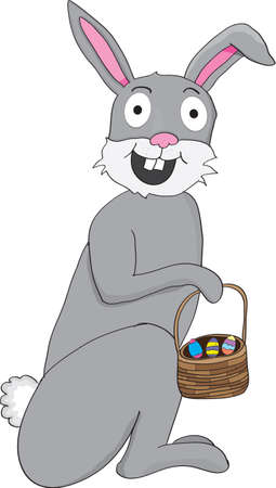 Gray easter bunny with basket and eggs